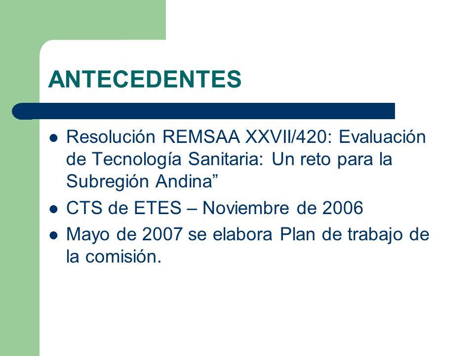 ANTECEDENTES Resolución REMSAA XXVII/420: Evaluación de Tecnología Sanitaria: Un reto para la Subregión Andina