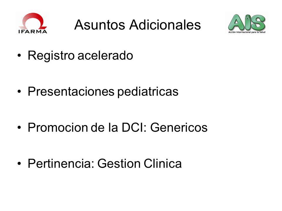 Asuntos Adicionales Registro acelerado Presentaciones pediatricas