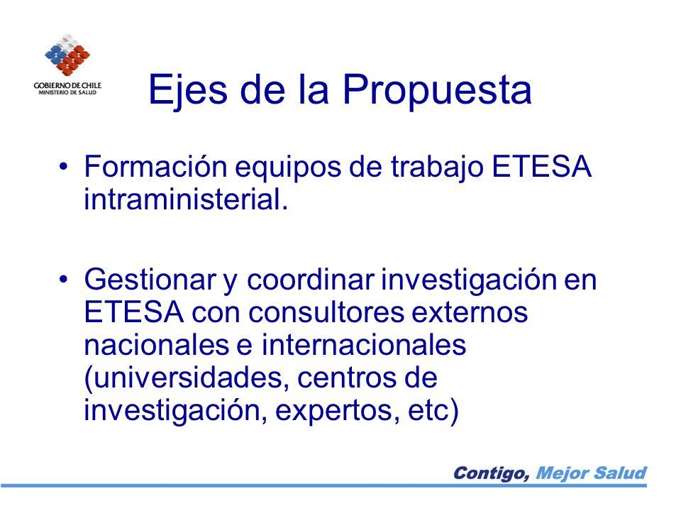 Ejes de la Propuesta Formación equipos de trabajo ETESA intraministerial.