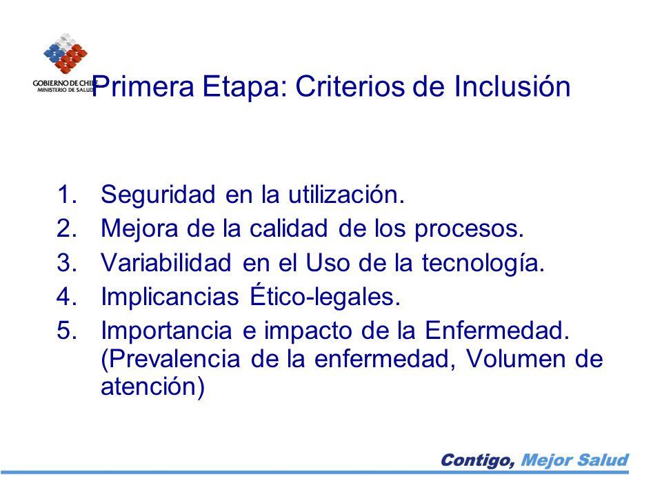 Primera Etapa: Criterios de Inclusión