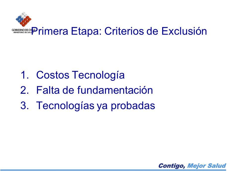 Primera Etapa: Criterios de Exclusión
