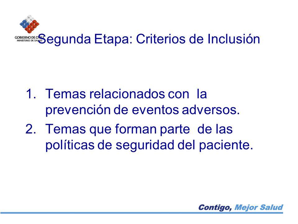 Segunda Etapa: Criterios de Inclusión