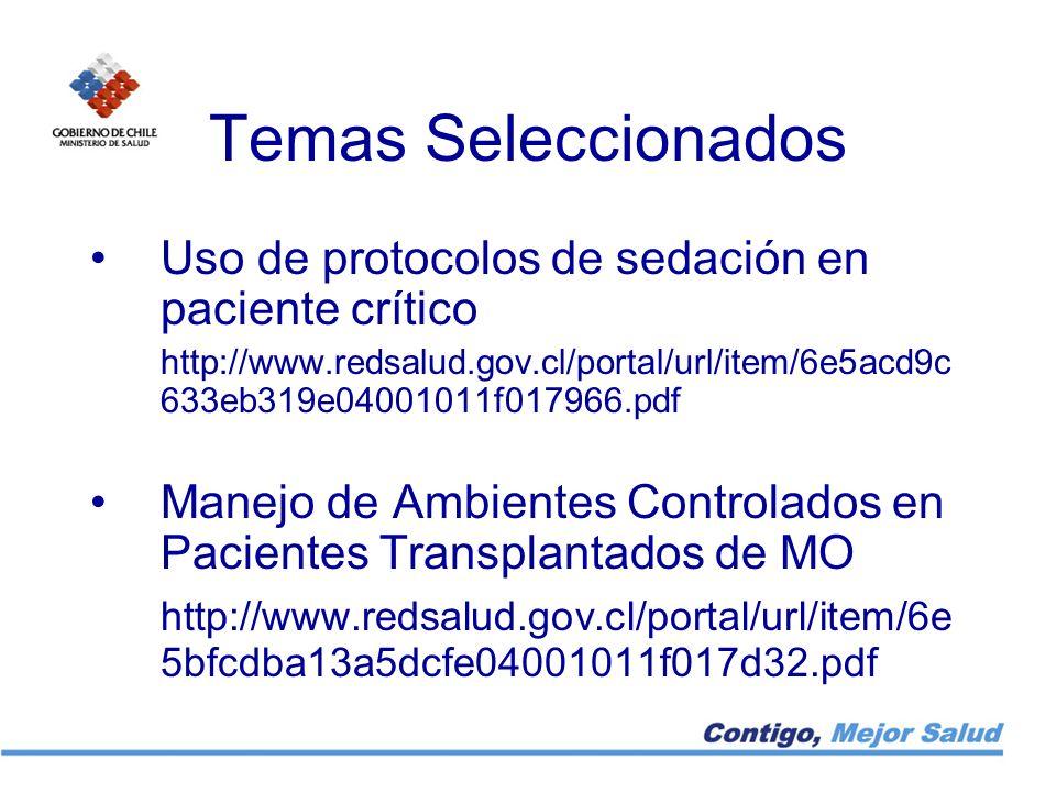 Temas Seleccionados Uso de protocolos de sedación en paciente crítico
