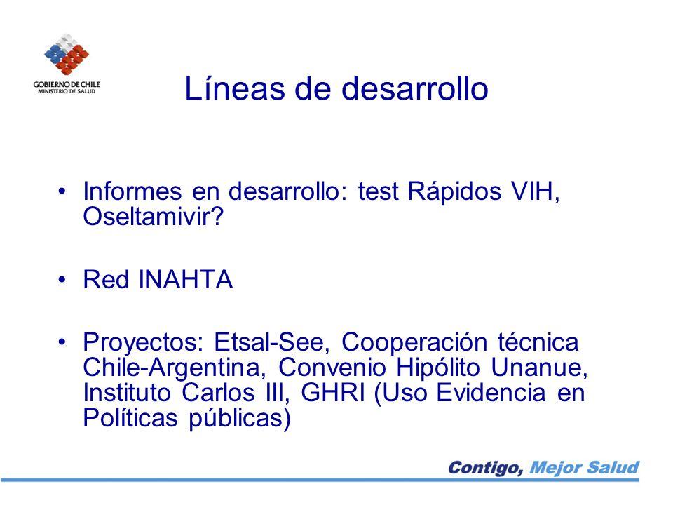 Líneas de desarrollo Informes en desarrollo: test Rápidos VIH, Oseltamivir Red INAHTA.