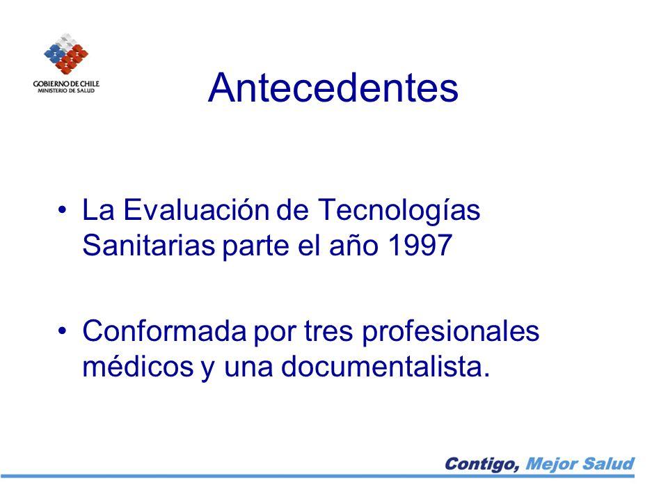 Antecedentes La Evaluación de Tecnologías Sanitarias parte el año 1997