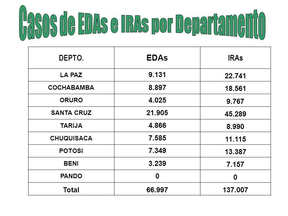 Casos de EDAs e IRAs por Departamento