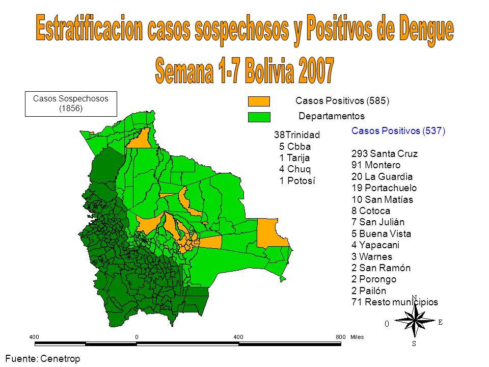 Estratificacion casos sospechosos y Positivos de Dengue