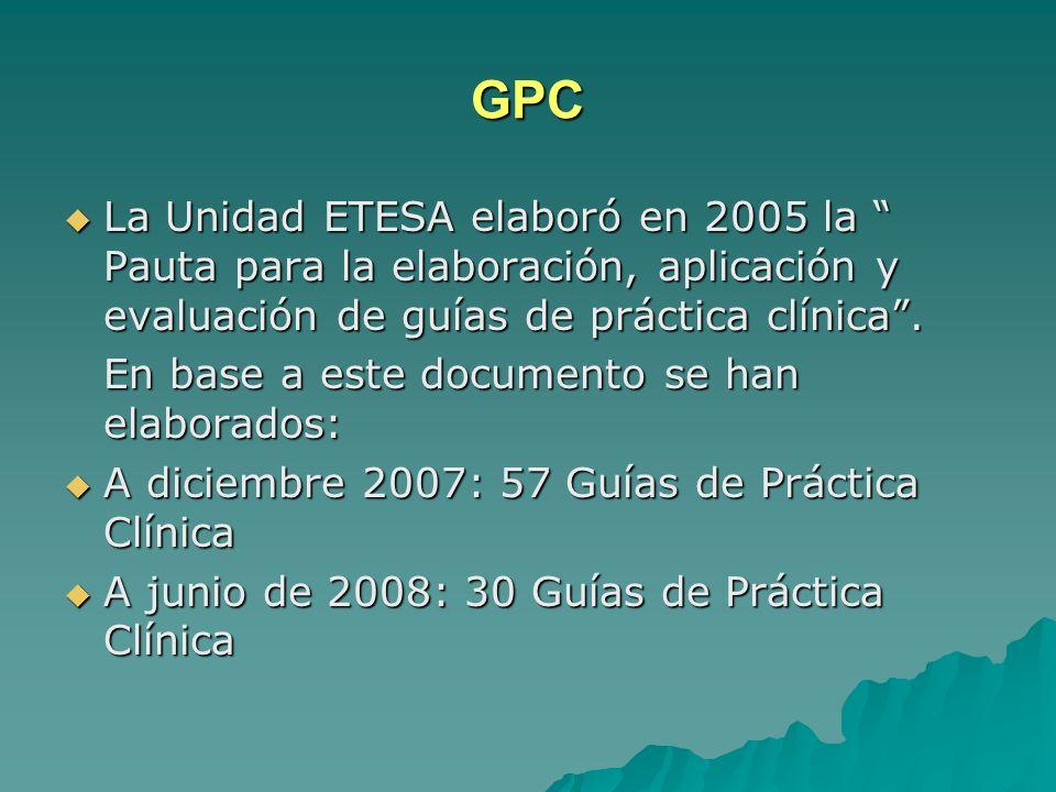 GPC La Unidad ETESA elaboró en 2005 la Pauta para la elaboración, aplicación y evaluación de guías de práctica clínica .