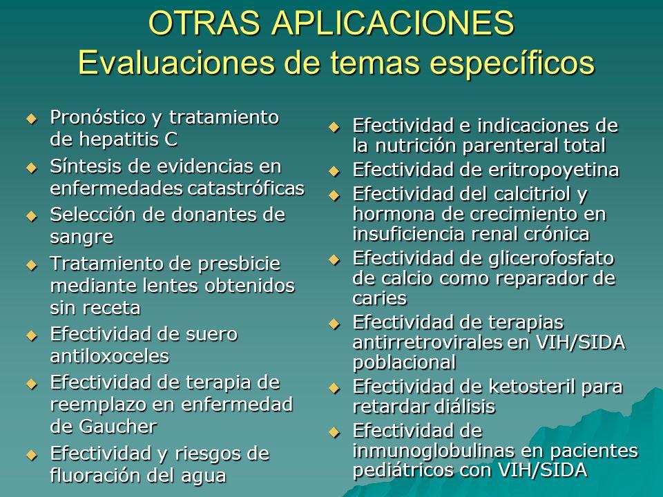 OTRAS APLICACIONES Evaluaciones de temas específicos