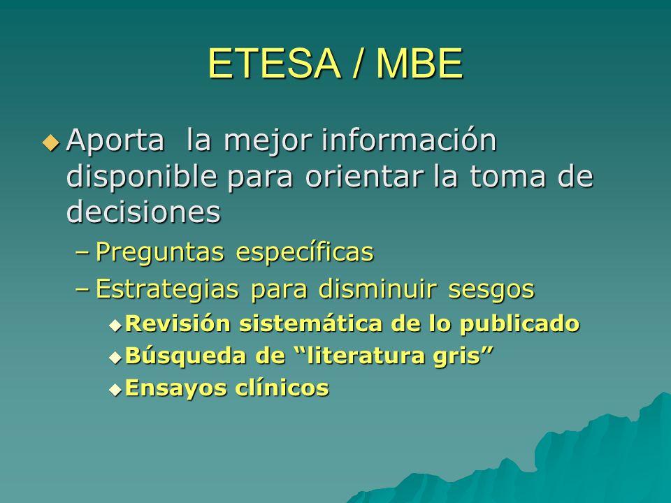 ETESA / MBE Aporta la mejor información disponible para orientar la toma de decisiones. Preguntas específicas.