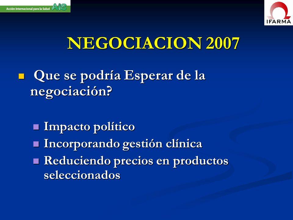 NEGOCIACION 2007 Que se podría Esperar de la negociación
