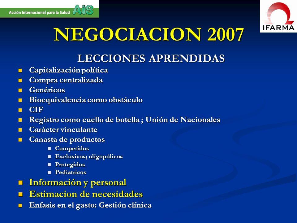 NEGOCIACION 2007 LECCIONES APRENDIDAS Información y personal
