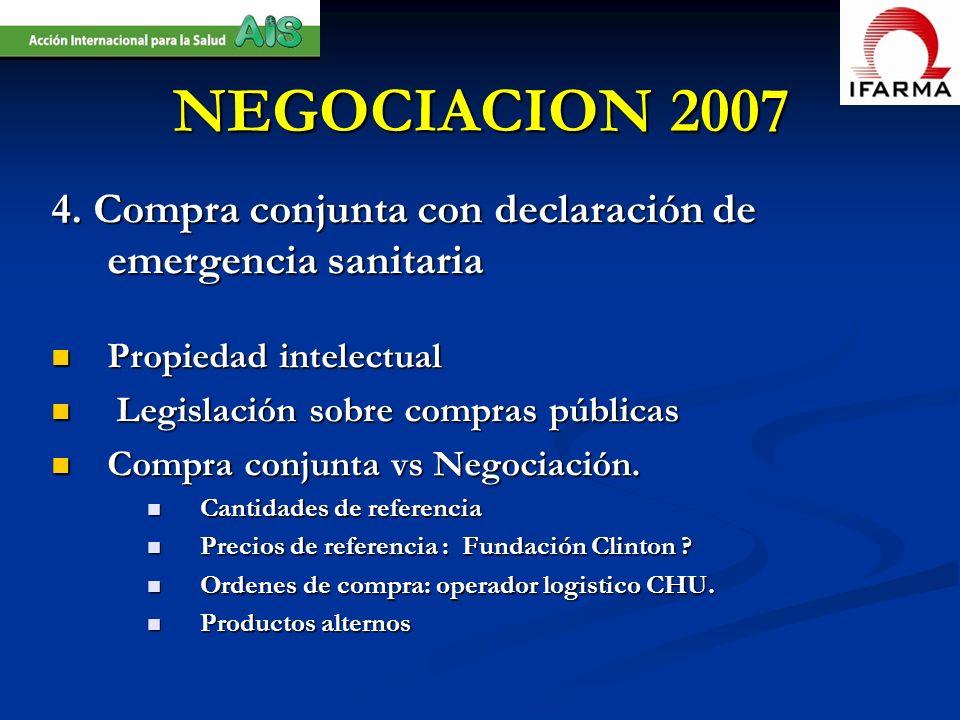 NEGOCIACION 20074. Compra conjunta con declaración de emergencia sanitaria. Propiedad intelectual. Legislación sobre compras públicas.