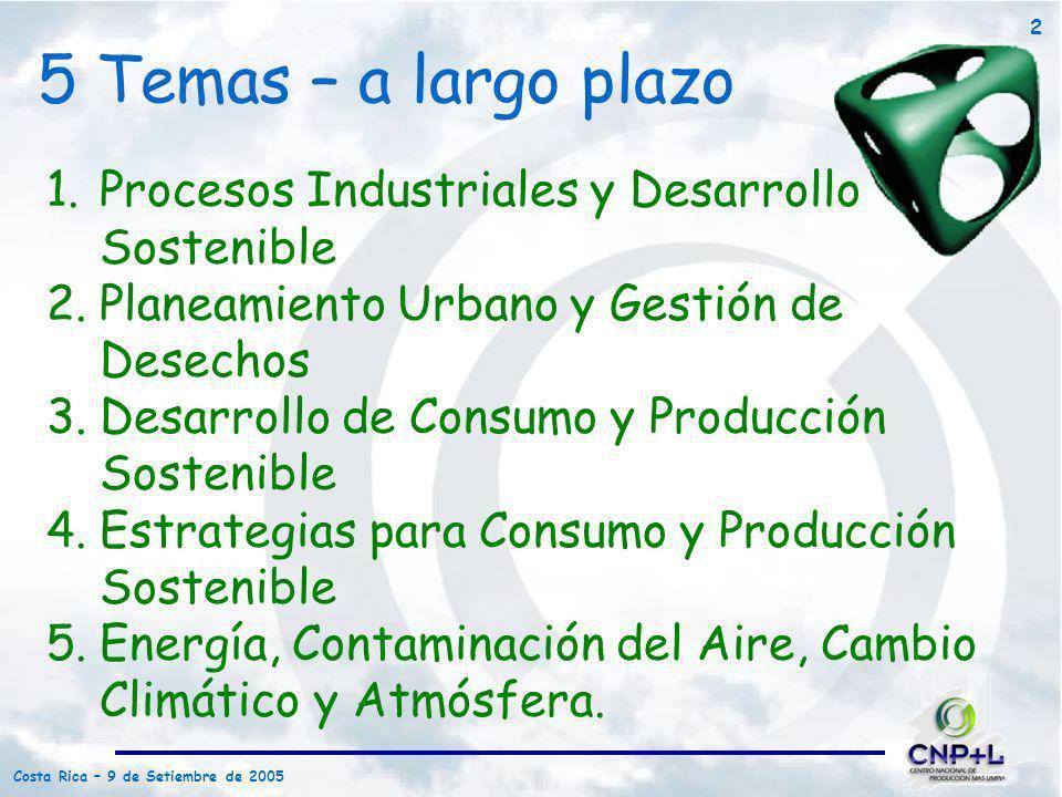 5 Temas – a largo plazo Procesos Industriales y Desarrollo Sostenible