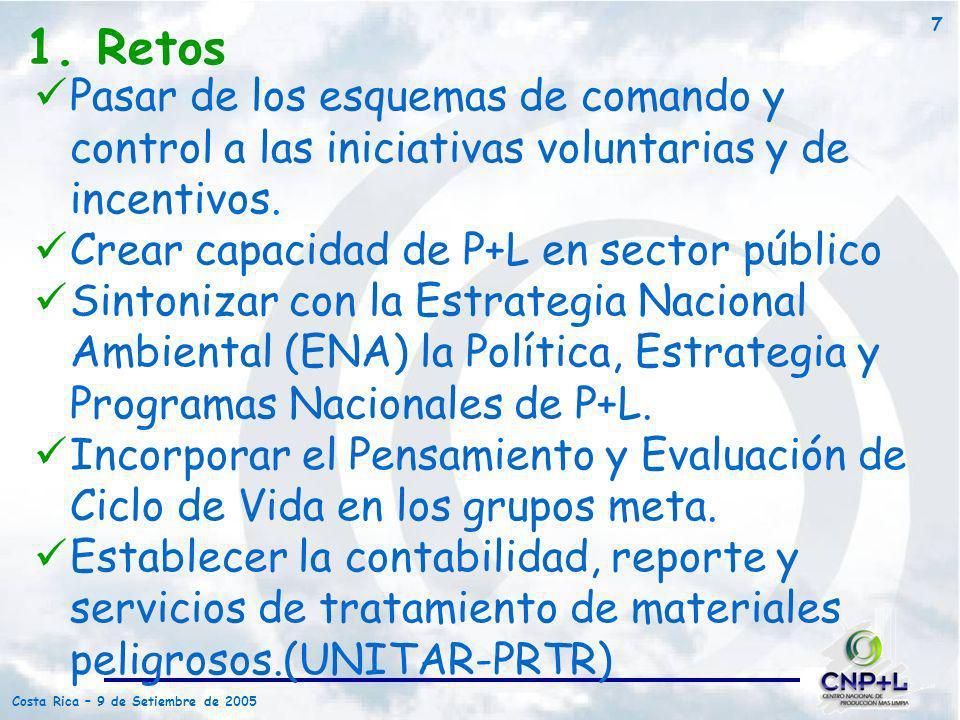 1. Retos Pasar de los esquemas de comando y control a las iniciativas voluntarias y de incentivos. Crear capacidad de P+L en sector público.
