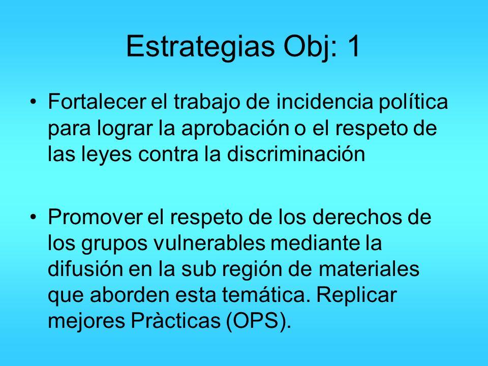 Estrategias Obj: 1 Fortalecer el trabajo de incidencia política para lograr la aprobación o el respeto de las leyes contra la discriminación.