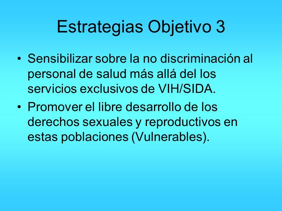 Estrategias Objetivo 3 Sensibilizar sobre la no discriminación al personal de salud más allá del los servicios exclusivos de VIH/SIDA.