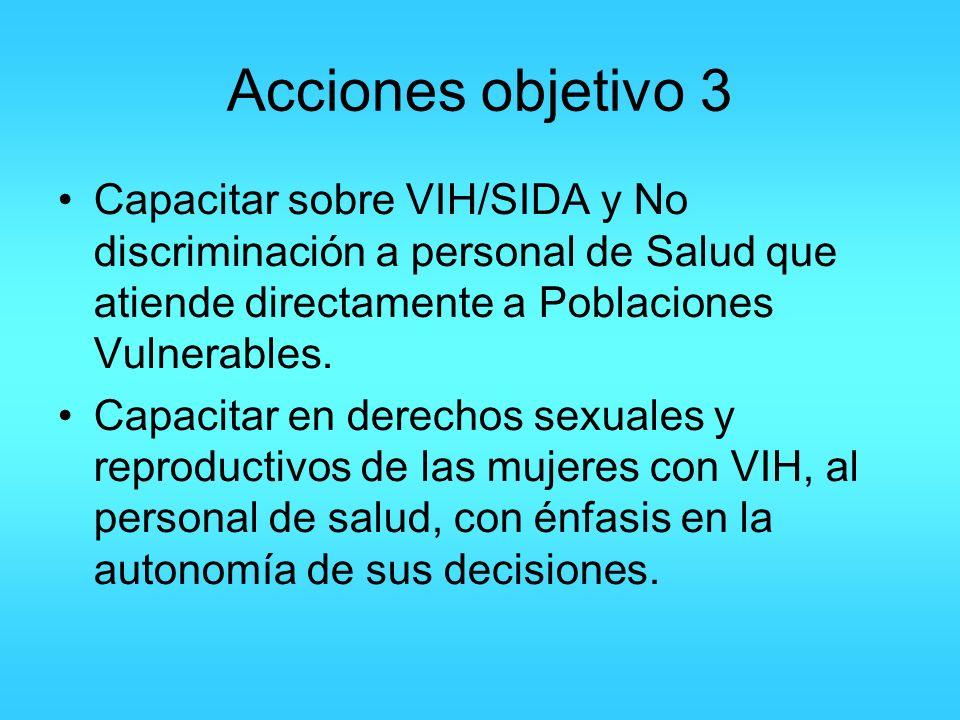 Acciones objetivo 3 Capacitar sobre VIH/SIDA y No discriminación a personal de Salud que atiende directamente a Poblaciones Vulnerables.