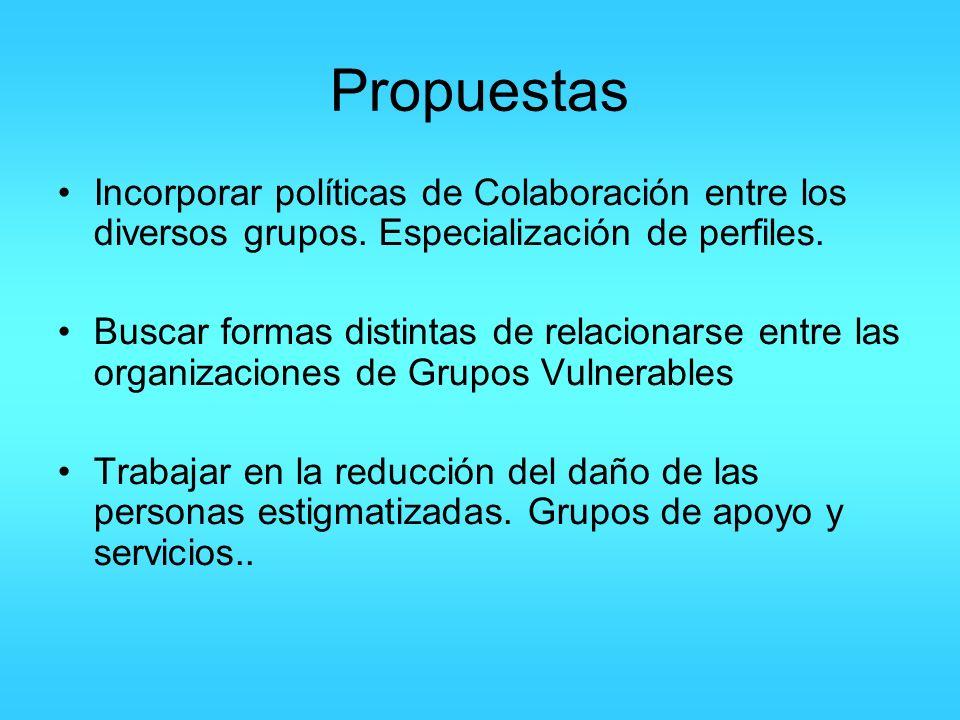 Propuestas Incorporar políticas de Colaboración entre los diversos grupos. Especialización de perfiles.