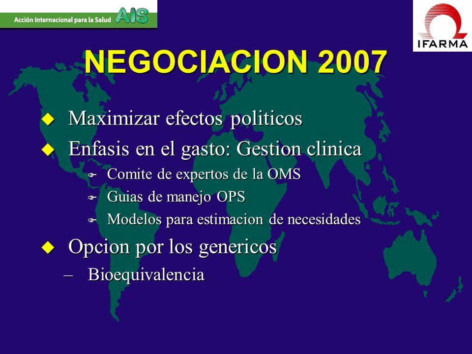 NEGOCIACION 2007 Maximizar efectos politicos