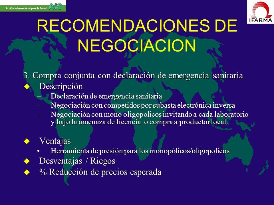 RECOMENDACIONES DE NEGOCIACION