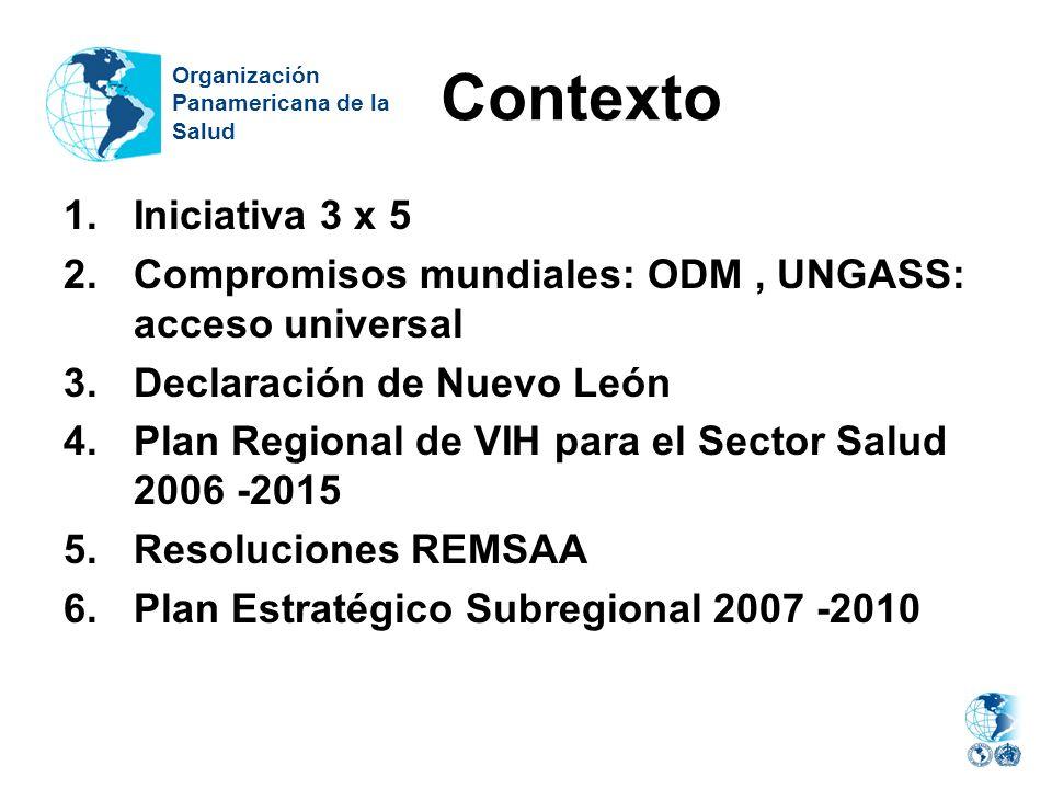 Contexto Organización. Panamericana de la. Salud. Iniciativa 3 x 5. Compromisos mundiales: ODM , UNGASS: acceso universal.