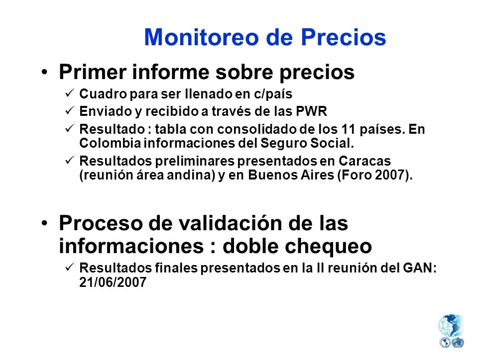 Monitoreo de Precios Primer informe sobre precios