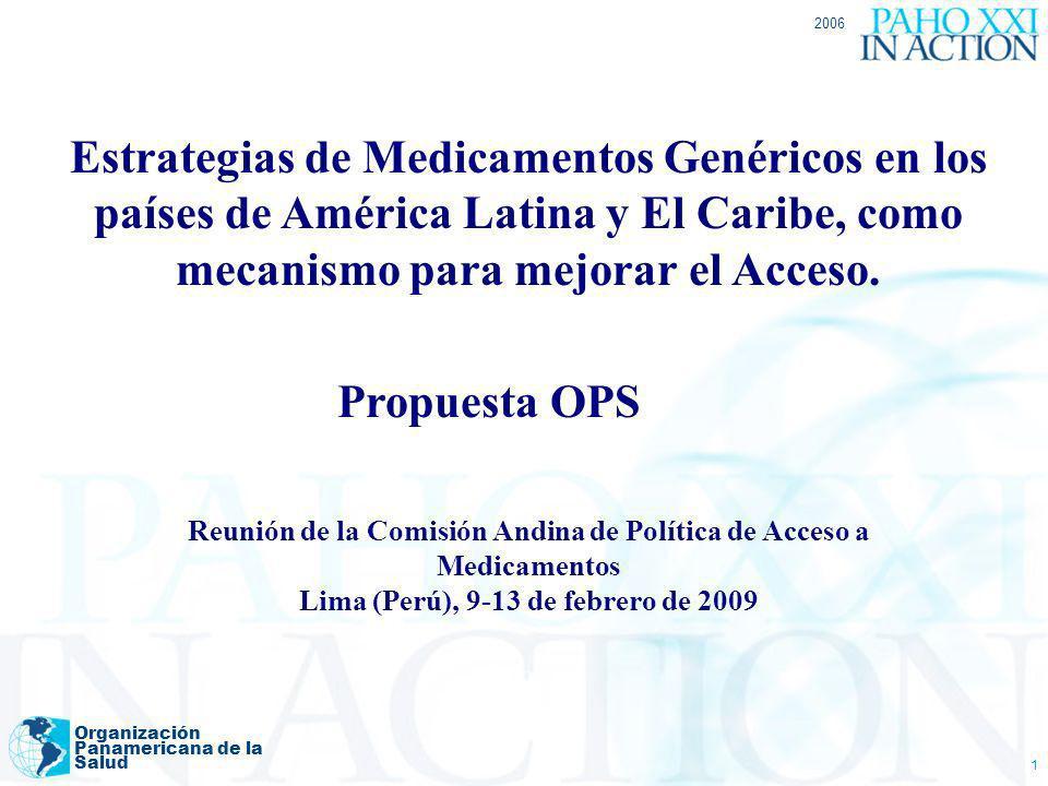 2006 Estrategias de Medicamentos Genéricos en los países de América Latina y El Caribe, como mecanismo para mejorar el Acceso.
