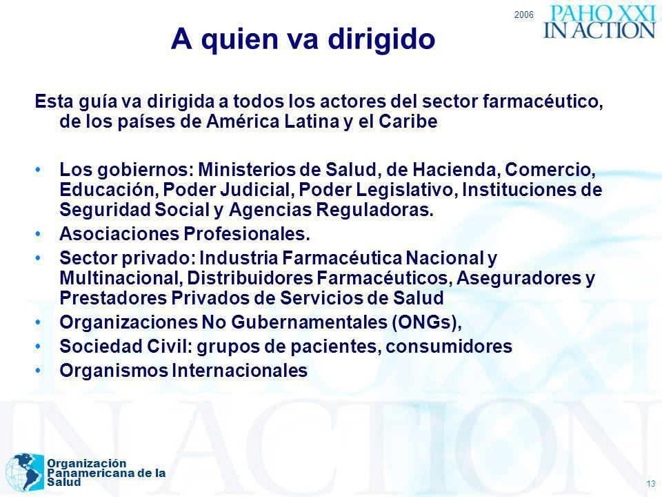 A quien va dirigido 2006. Esta guía va dirigida a todos los actores del sector farmacéutico, de los países de América Latina y el Caribe.