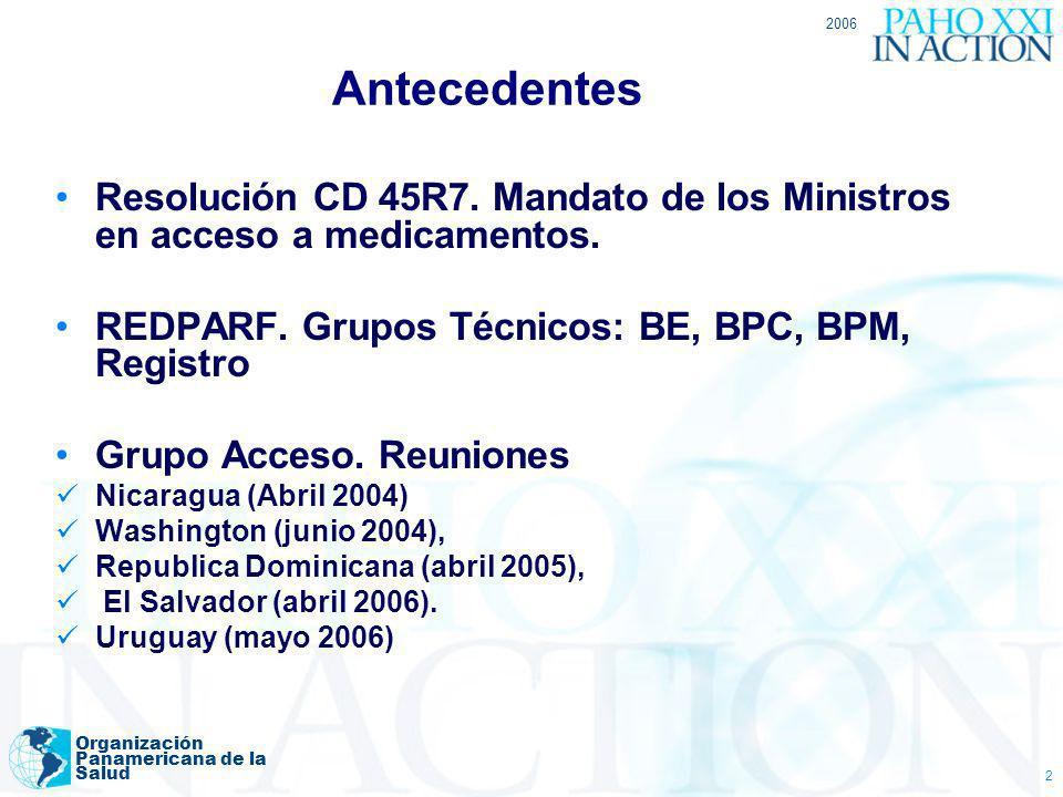2006Antecedentes. Resolución CD 45R7. Mandato de los Ministros en acceso a medicamentos. REDPARF. Grupos Técnicos: BE, BPC, BPM, Registro.