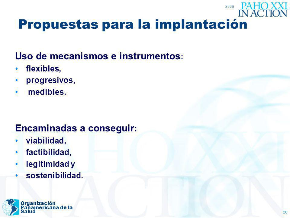 Propuestas para la implantación