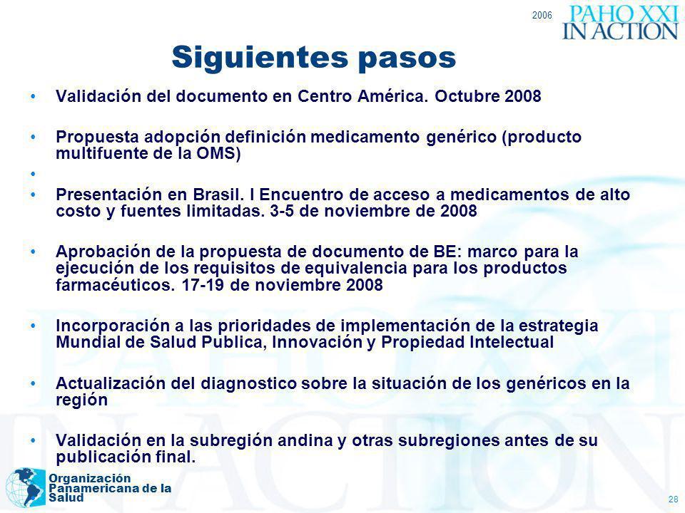 2006 Siguientes pasos. Validación del documento en Centro América. Octubre 2008.