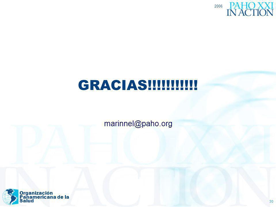 GRACIAS!!!!!!!!!!! marinnel@paho.org Organización Panamericana de la