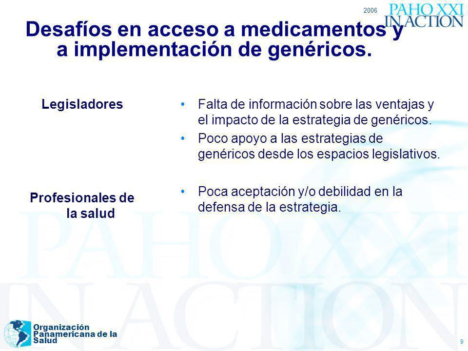 Desafíos en acceso a medicamentos y a implementación de genéricos.