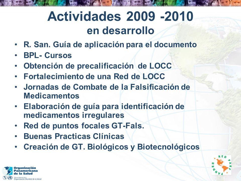 Actividades 2009 -2010 en desarrollo