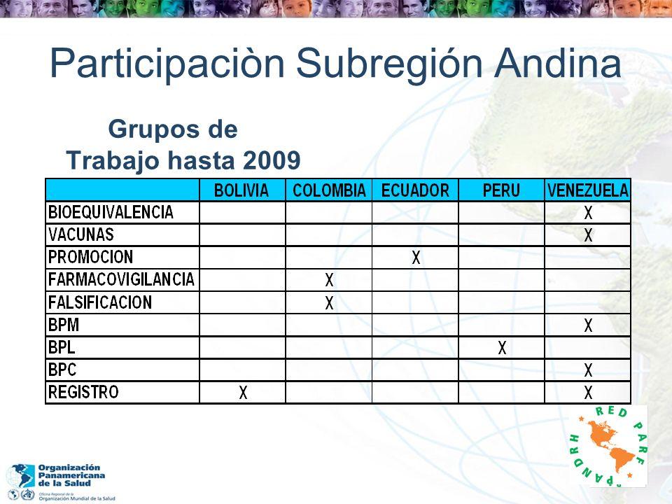 Participaciòn Subregión Andina