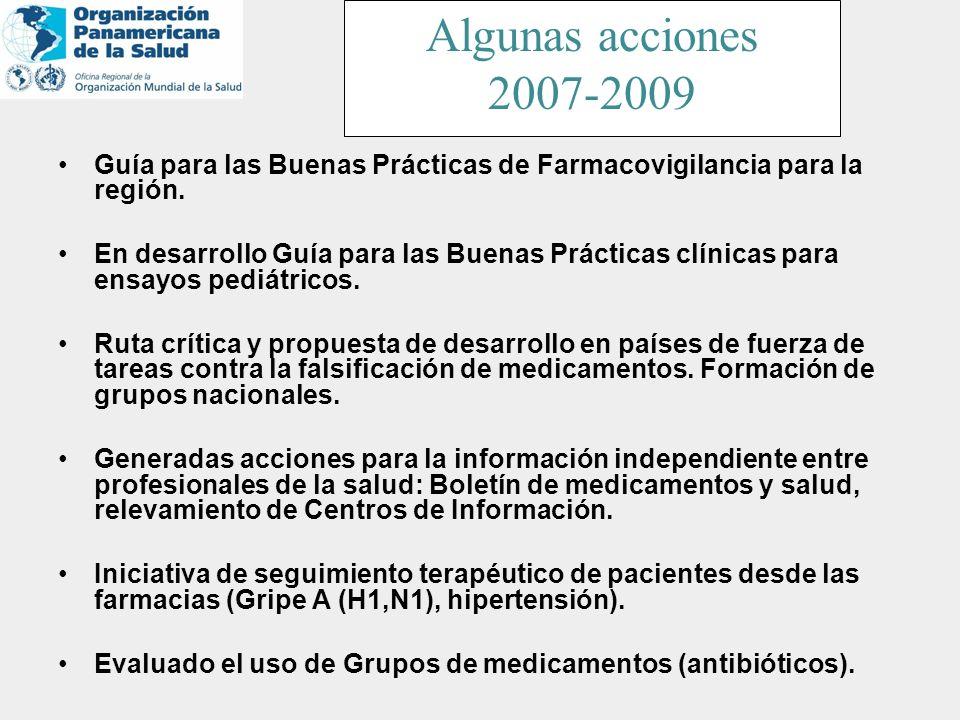Algunas acciones 2007-2009. Guía para las Buenas Prácticas de Farmacovigilancia para la región.