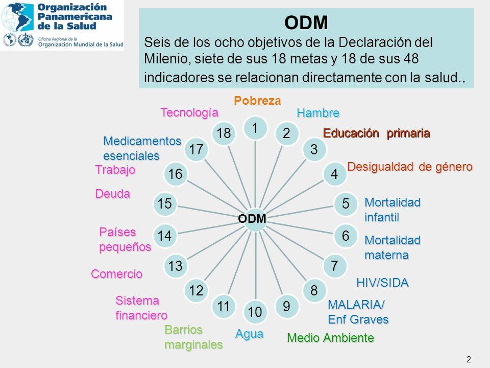 ODM Seis de los ocho objetivos de la Declaración del Milenio, siete de sus 18 metas y 18 de sus 48.