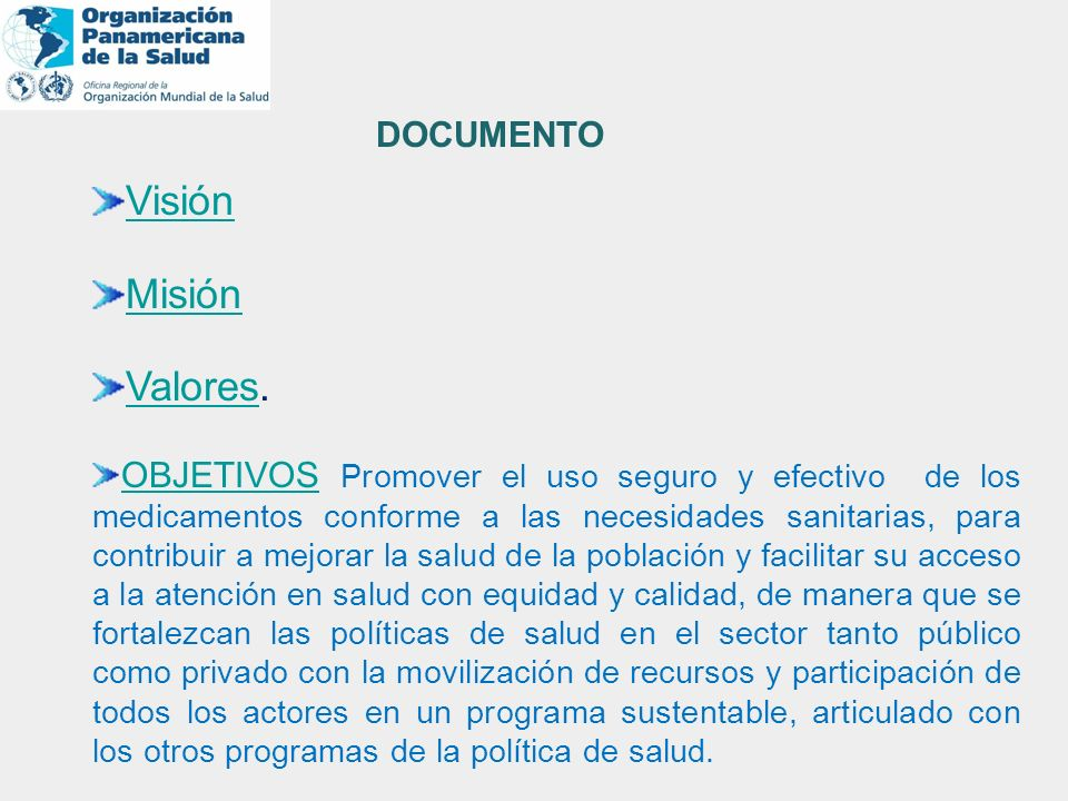Visión Misión Valores. DOCUMENTO