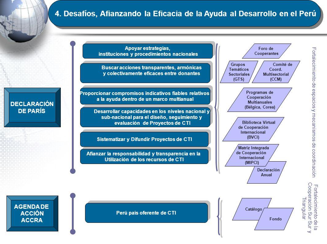 4. Desafíos, Afianzando la Eficacia de la Ayuda al Desarrollo en el Perú