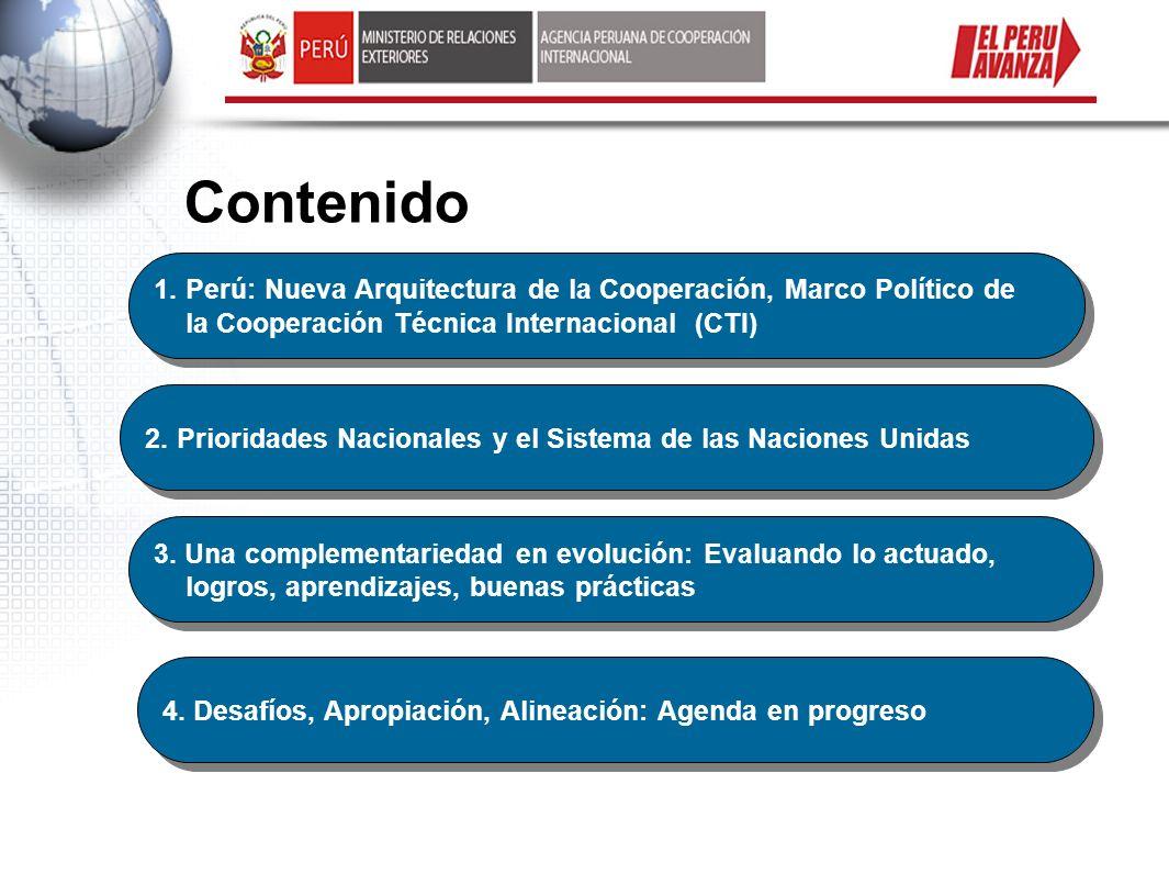 Contenido Perú: Nueva Arquitectura de la Cooperación, Marco Político de la Cooperación Técnica Internacional (CTI)