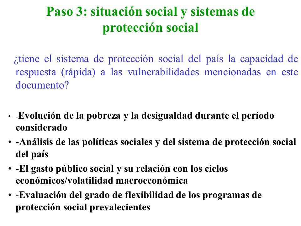 Paso 3: situación social y sistemas de protección social