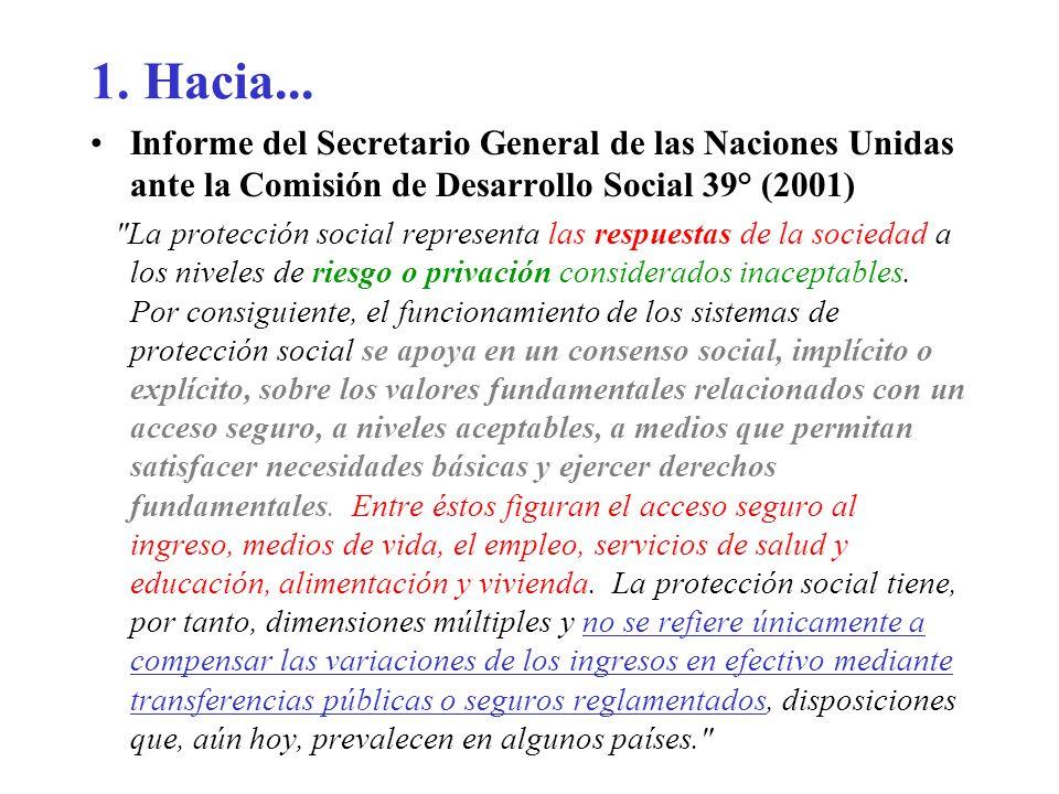 1. Hacia...Informe del Secretario General de las Naciones Unidas ante la Comisión de Desarrollo Social 39° (2001)