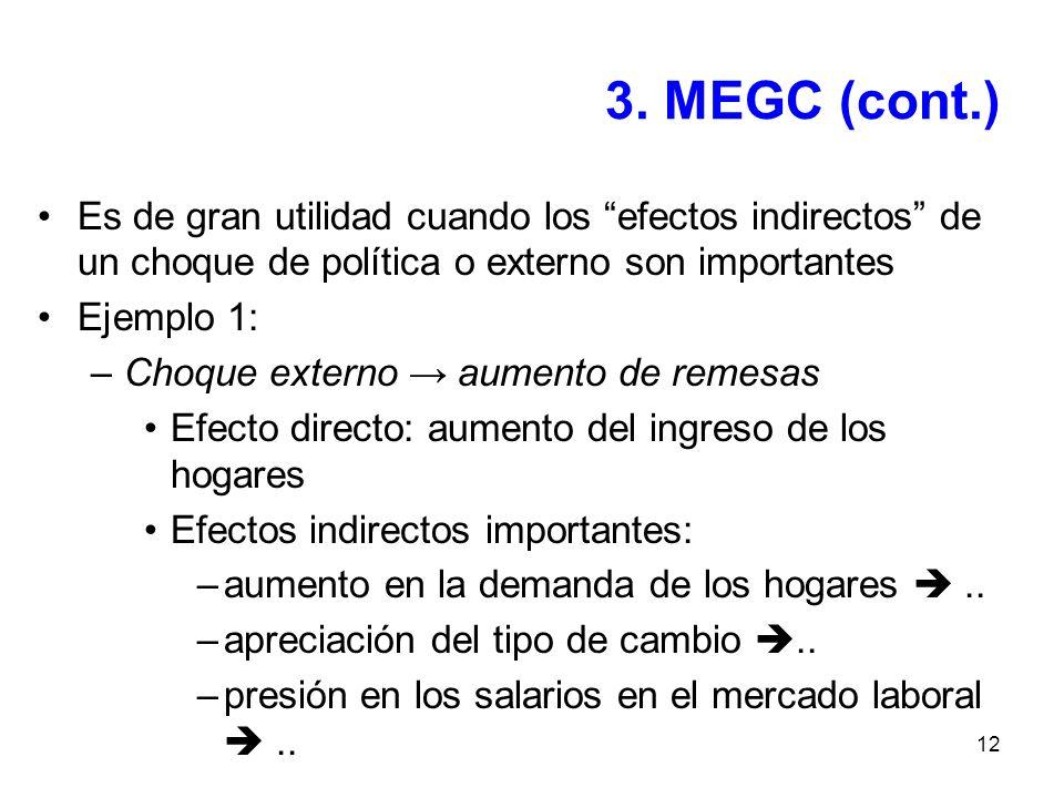 3. MEGC (cont.) Es de gran utilidad cuando los efectos indirectos de un choque de política o externo son importantes.