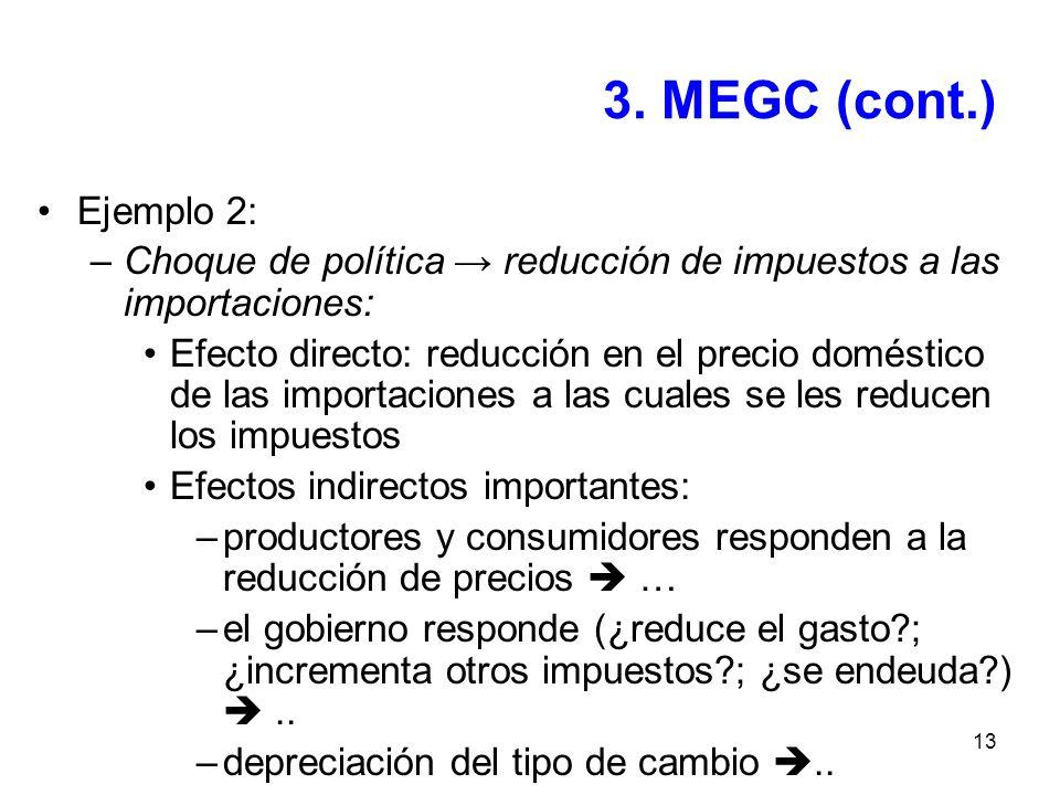 3. MEGC (cont.) Ejemplo 2: Choque de política → reducción de impuestos a las importaciones: