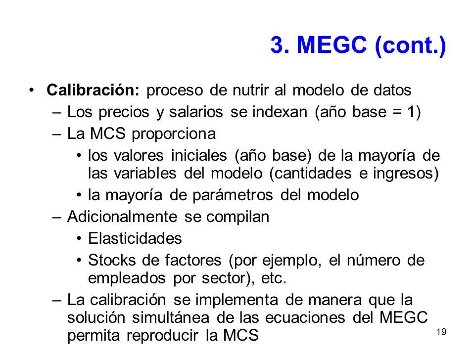 3. MEGC (cont.) Calibración: proceso de nutrir al modelo de datos
