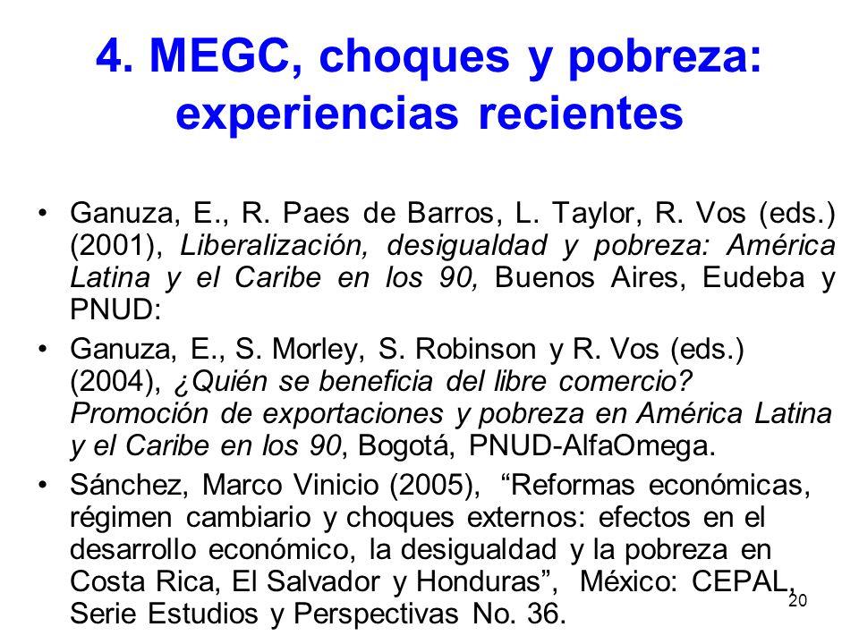 4. MEGC, choques y pobreza: experiencias recientes