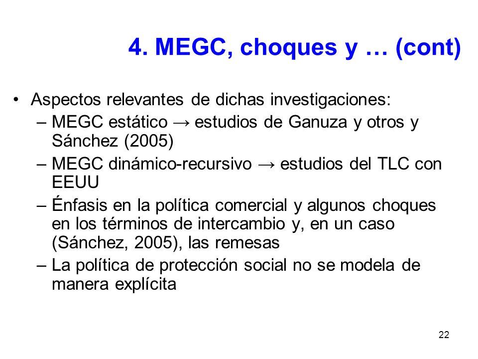 4. MEGC, choques y … (cont) Aspectos relevantes de dichas investigaciones: MEGC estático → estudios de Ganuza y otros y Sánchez (2005)