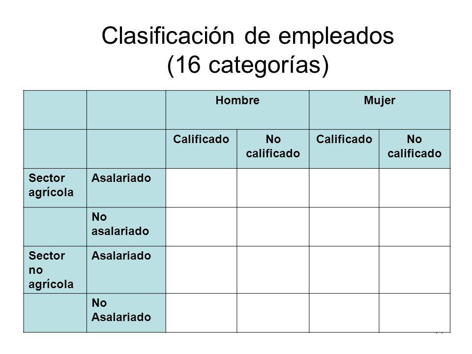 Clasificación de empleados (16 categorías)