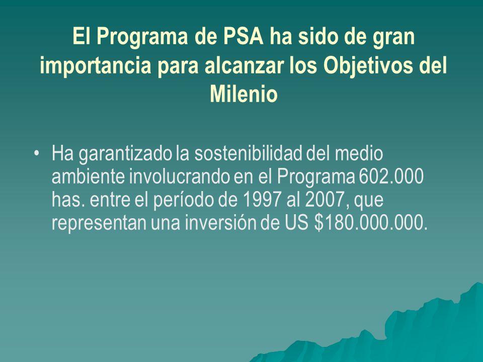 El Programa de PSA ha sido de gran importancia para alcanzar los Objetivos del Milenio